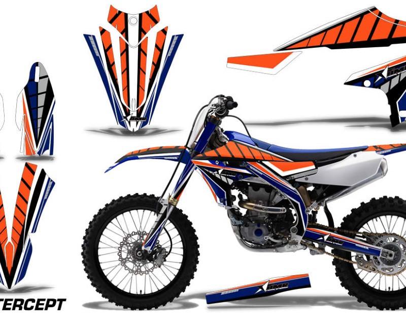 AMR Racing Dirt Bike Decal Graphics Kit MX Sticker Wrap For Yamaha YZ450F 2018+áINTERCEPT ORANGE BLUE