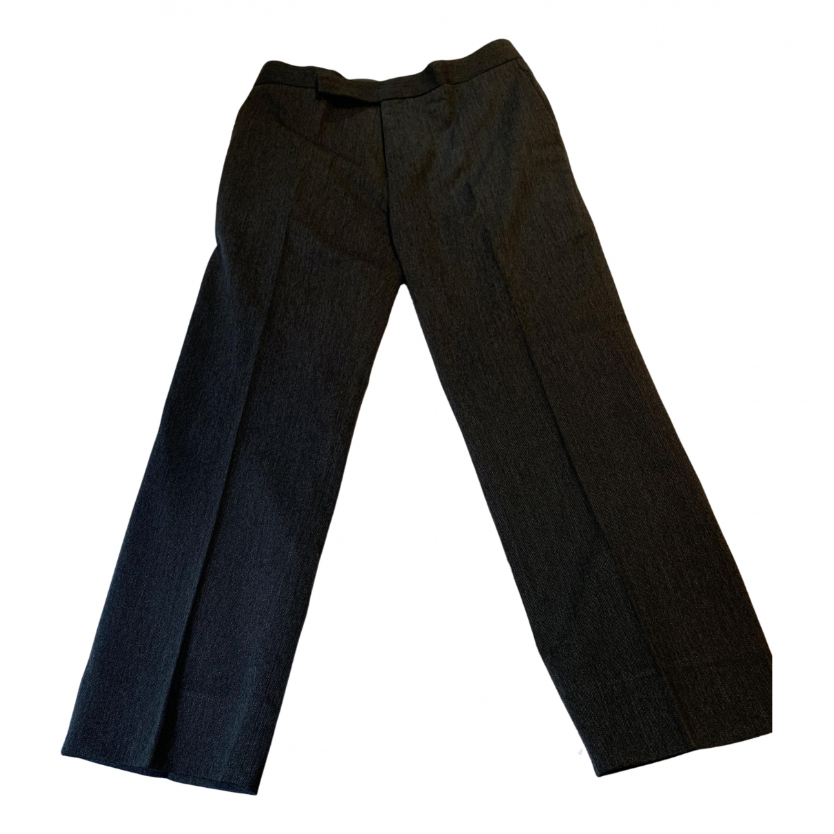 Marni N Anthracite Wool Trousers for Women 42 IT