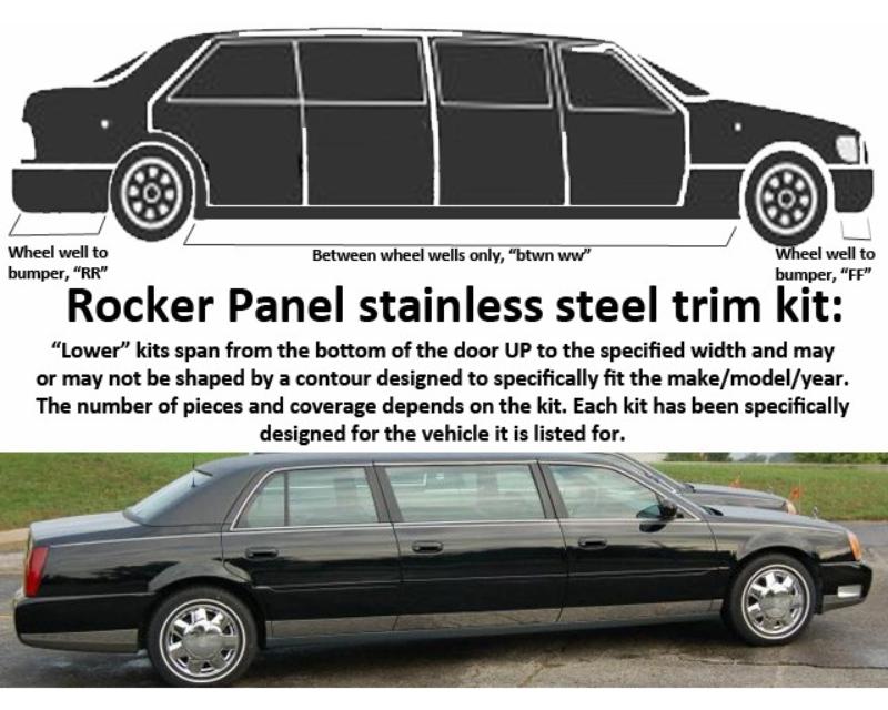 QAA Stainless Rocker Panel Trim 10Pc 2006-2011 Cadillac DTS