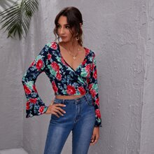 Flounce Sleeve Floral Print Wrap Knotted Top
