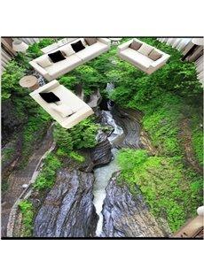 Special Design Stream Between the Rock Pattern Home Decorative Waterproof 3D Floor Murals
