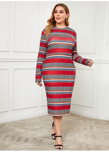 Rainbow Stripe Long Sleeve Plus Size Dress - 3XL