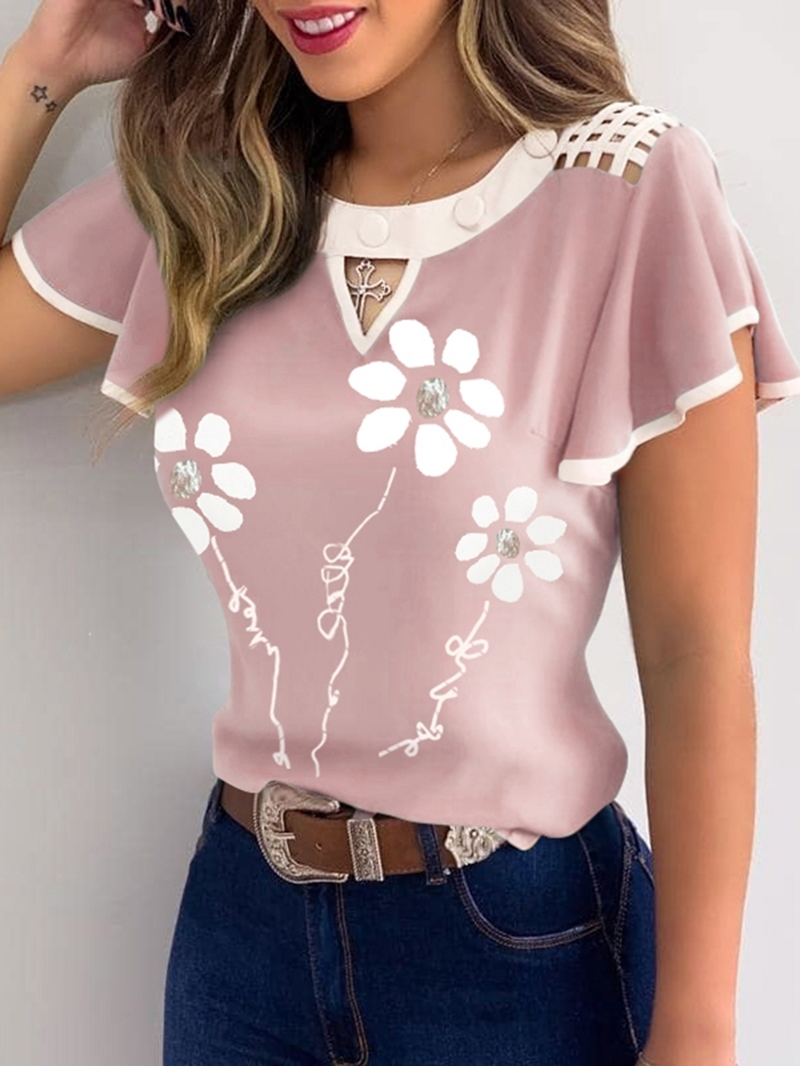 Ericdress Floral Standard Short Sleeve Office Lady Slim T-Shirt