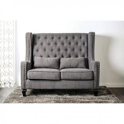 Alicante Collection CM-BN6449GY-PK 57 Loveseat Bench with Button Tufted  Wing Back Design and Nailhead Trim in