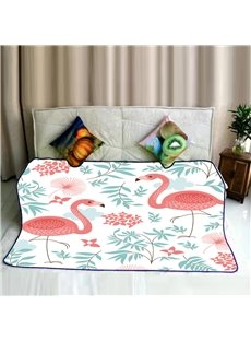 Cute Flamingos and Green Leaves Pattern Flannel Bed Blankets