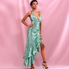 Crisscross Backless Asymmetrical Hem Sequin Dress