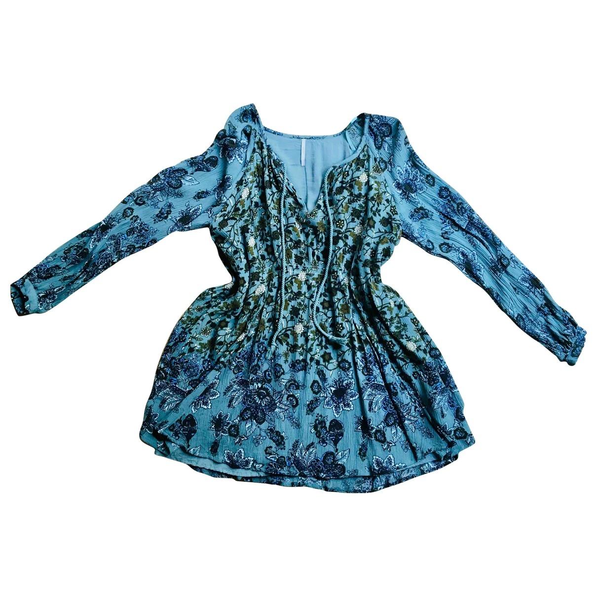 Free People - Robe   pour femme en coton - bleu