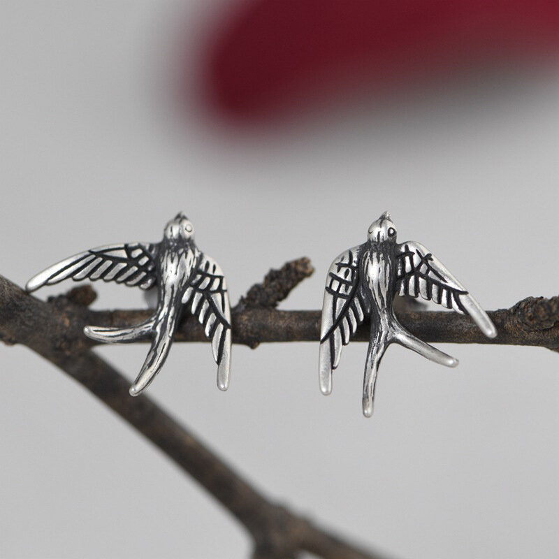 Vintage 925 Sterling Silver Earring Metal Carved Swallow Ear Stud Women Jewelry Gift