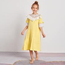 Girls Embroidered Mesh Yoke Schiffy Ruffle Trim Nightdress