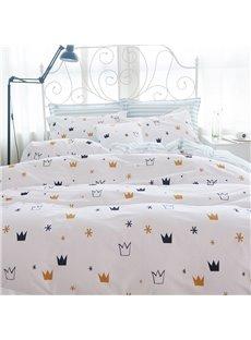 Concise Crown Print White 4-Piece Cotton Bedding Sets/Duvet Cover