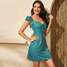 Allover Print Sweetheart Neck Fitted Dress