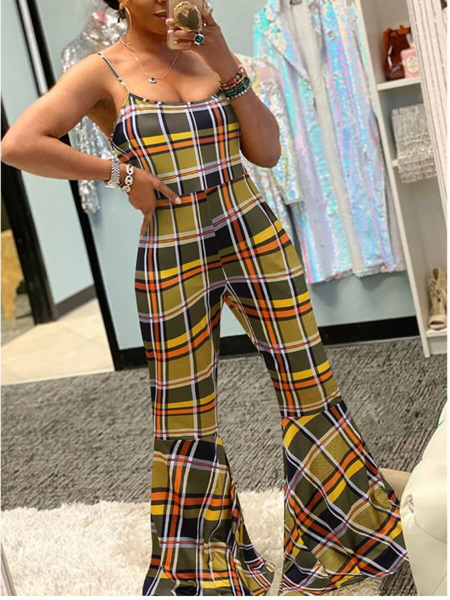 LW Lovely Casual Spaghetti Strap Plaid Print Yellow One-piece Jumpsuit