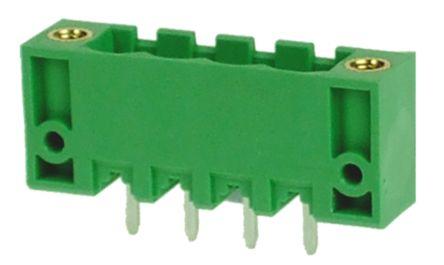 RS PRO , 4 Way, 1 Row, Straight PCB Terminal Block Header (10)