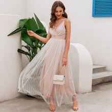 Rueckenfreies Cami Kleid mit Netzstoff