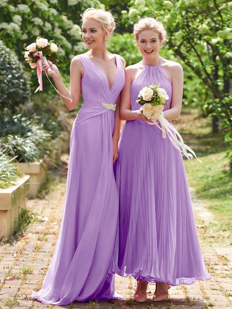 Ericdress Halter Pleats Ankle Length Bridesmaid Dress