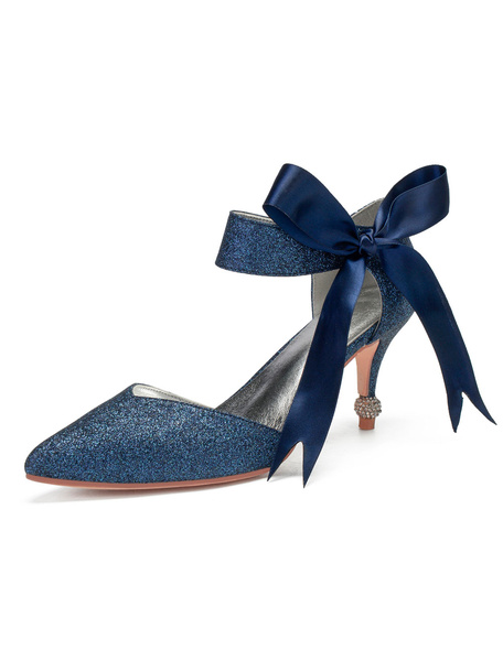 Milanoo Blue Glitter Wedding Shoes Pointed Toe Two-part Jewelled Heel Bridal Shoes with Bow