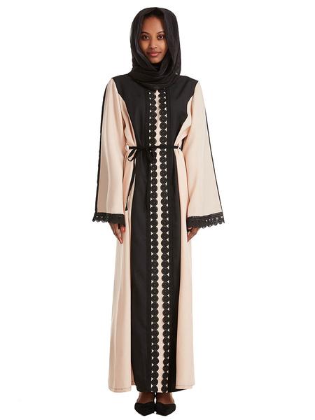 Milanoo Baju Muslim Abaya Dress Arabian Clothing Long Sleeves Two Tone Maxi Dress