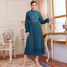 Frilled Neck Lantern Sleeve Lace Overlay Dress