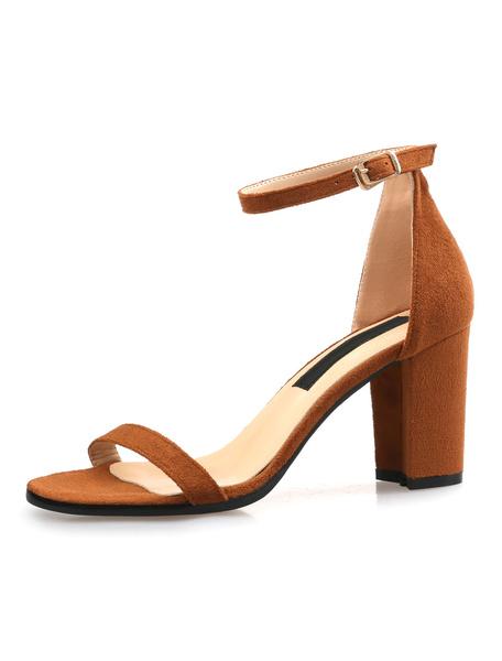 Milanoo Mid Heel Sandals Womens Suede Open Toe Ankle Strap Block Heel Sandals