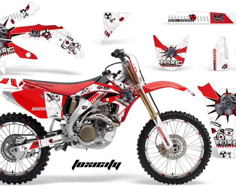 AMR Racing Graphics MX-NP-HON-CRF450R-05-08-TX R W Kit Decal Sticker Wrap + # Plates For Honda CRF450R 2005-2008áTOXIC RED WHITE