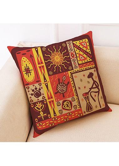1pc 45 X 45cm Tribal Print Orange Pillow Case - One Size
