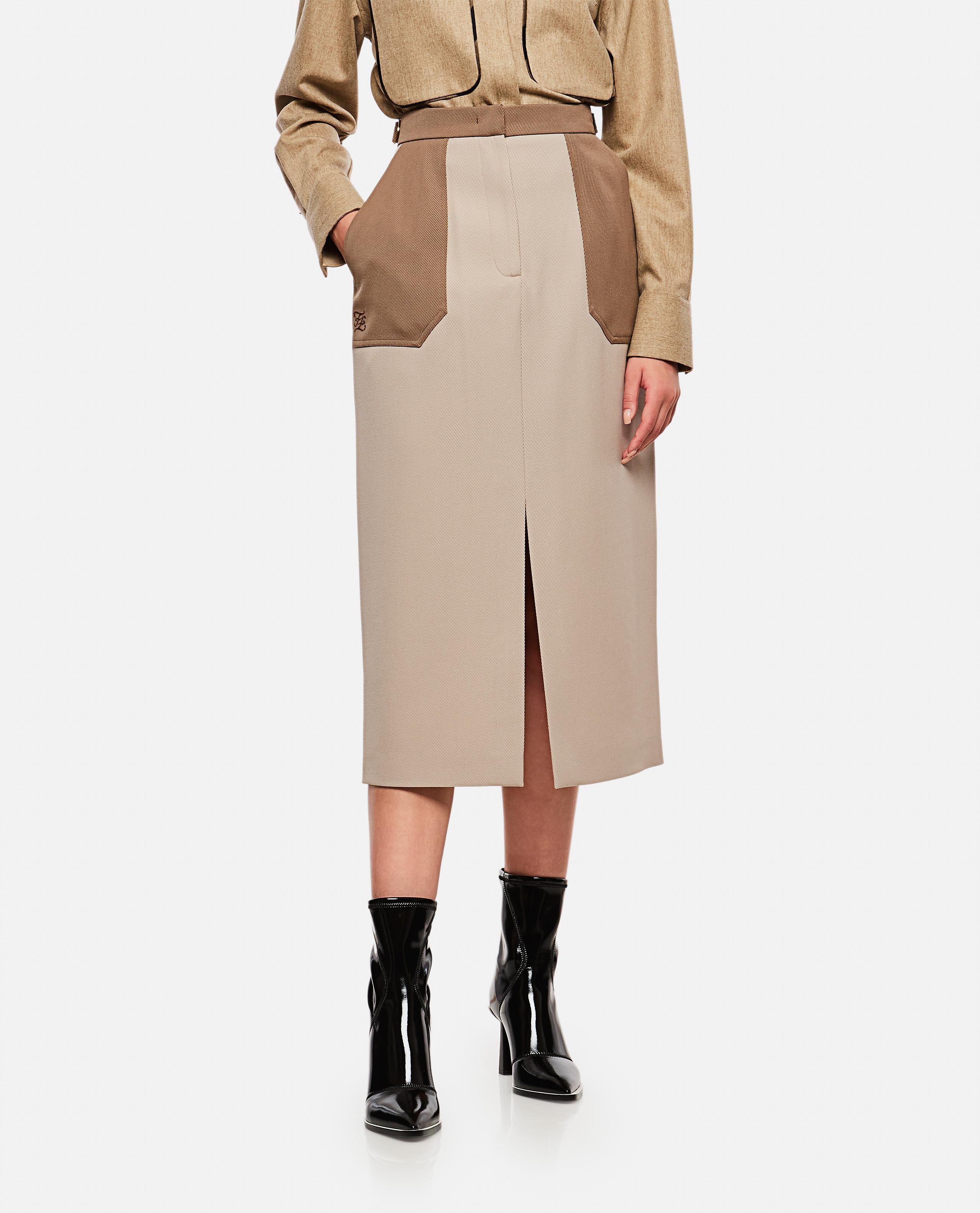Wool gabardine midi skirt