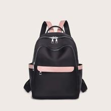 Rucksack mit Farbblock und Taschen vorn