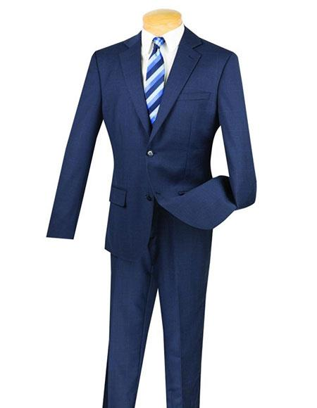 Fortini 1Wool 2Button Window Pane Plaid Slim Fit Navy Suit Side Vented