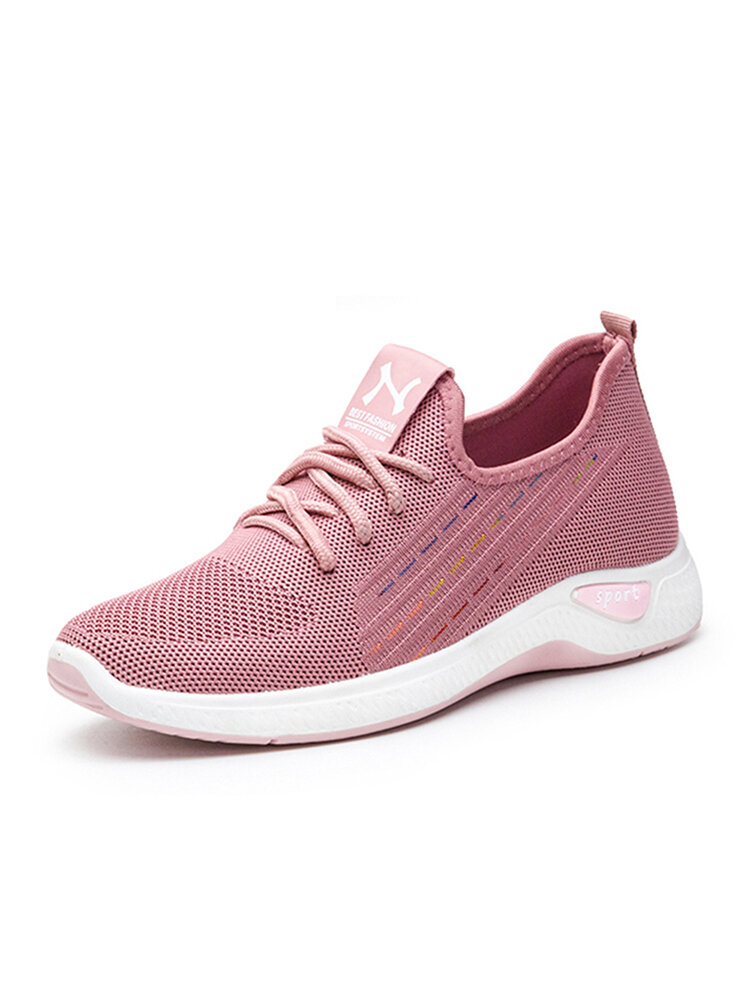 Women Mesh Beathable Lace Up Casual Flat Shoes
