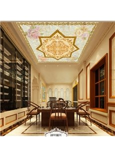 3D Colored Flowers Printed Waterproof Durable and Eco-friendly Ceiling Murals
