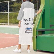 Letter Graphic Striped Drop Shoulder Dress