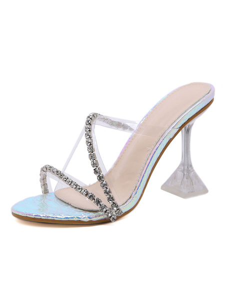 Milanoo Womens Clear Sandals Transparente Slippers Slides With Rhinestones Heel Shoes