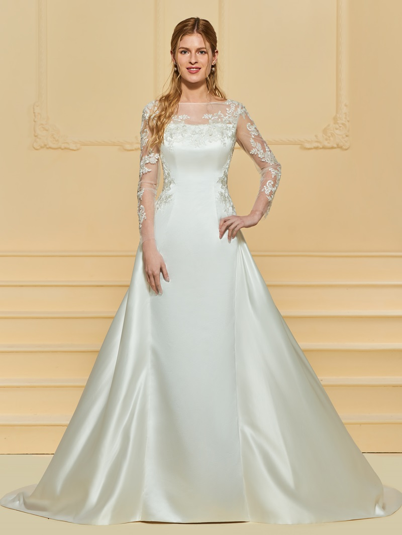 Ericdress BUtton Appliques Long Sleeves Wedding Dress