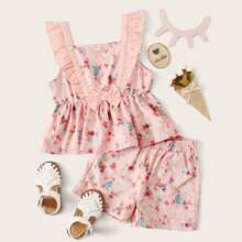 Toddler Girls Floral Bow Peplum Top With Shorts