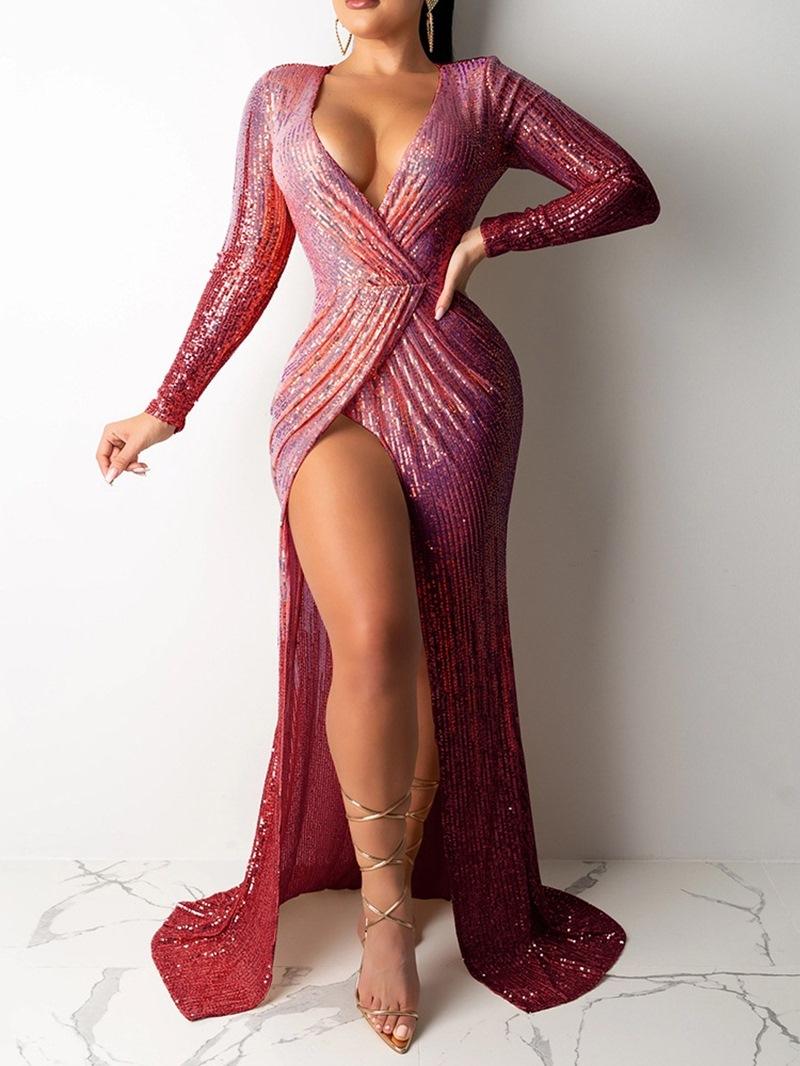 Ericdress Split Floor-Length Long Sleeve Plain Bodycon Dress