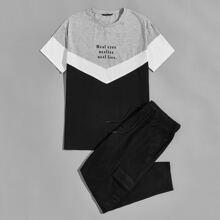 Top mit Buchstaben Grafik, Chevron Muster und Farbblock & Jogginghose mit Taschen Klappe Set