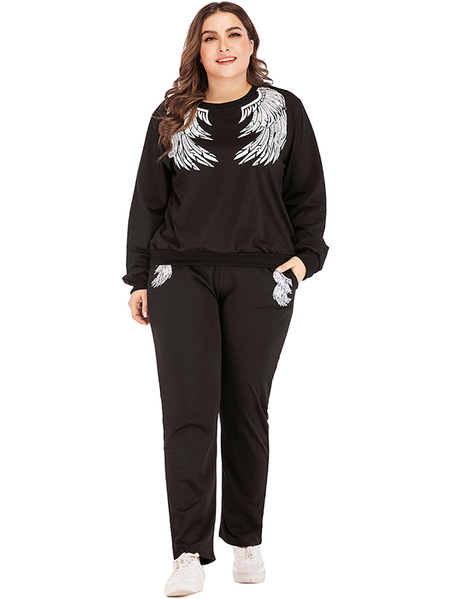 Yoins Plus Size Black Side Pockets Two Piece Outfit