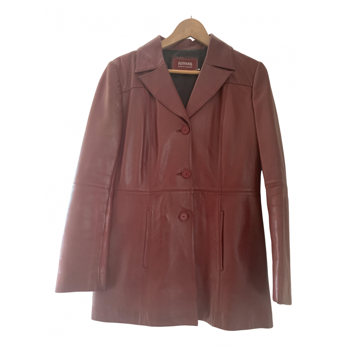 Non Signé / Unsigned \N Burgundy Leather jacket for Women 38 FR