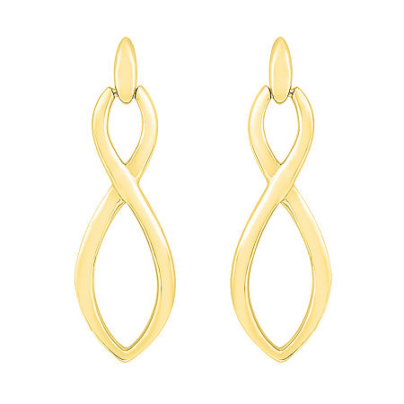 10K Gold 24.7mm Infinity Stud Earrings, One Size , No Color Family