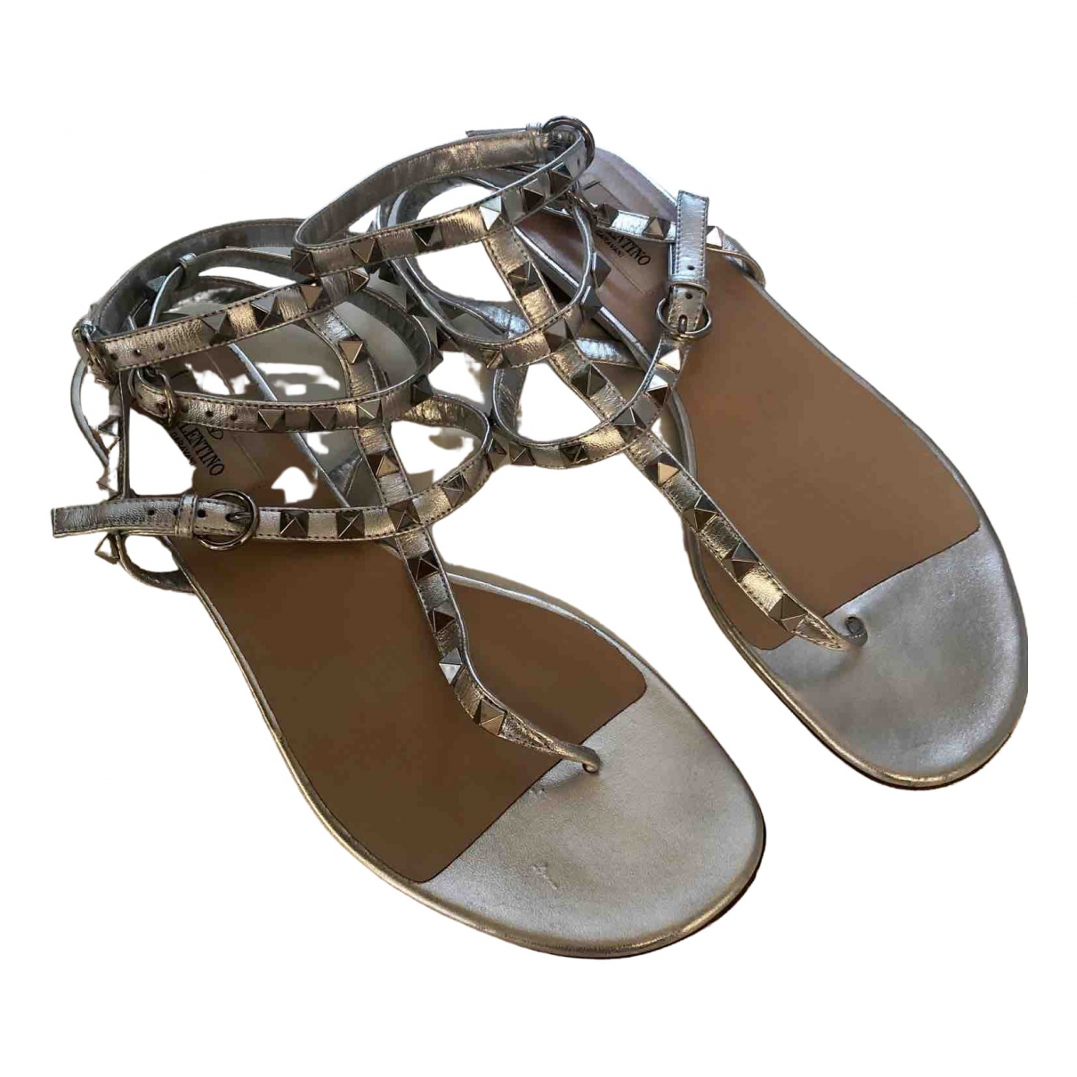 Valentino Garavani Rockstud Silver Leather Sandals for Women 39.5 EU