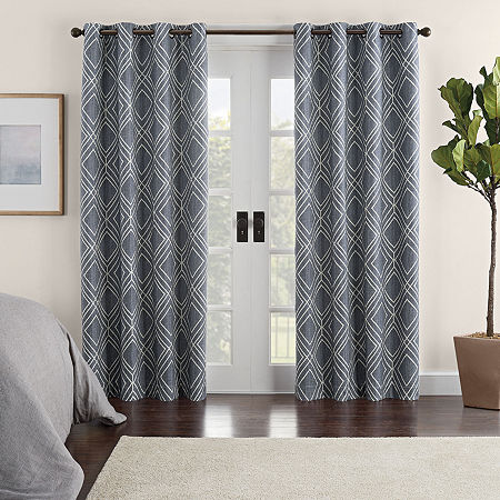 Eclipse Ambiance Geo Print Draft Stopper Energy Saving 100% Blackout Grommet-Top Single Curtain Panel, One Size , Blue