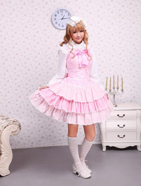 Milanoo Pichi de lolita rosa estilo dulce de algodon con tirantes con volante fruncido