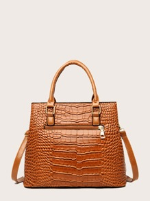 3pcs Croc Embossed Tote Bag With Clutch Bag