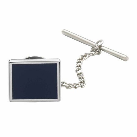 Rhodium-Plated Tie Tack with Blue Enamel Center, One Size , Blue