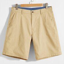 Pantalones cortos para hombre Bolsillo Liso Caqui Casual