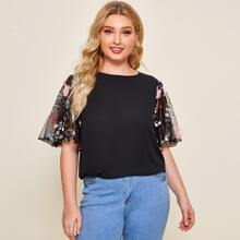 Plus Floral Applique Embroidered Mesh Sleeve Top