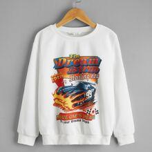 Pullover mit Buchstaben und Auto Muster