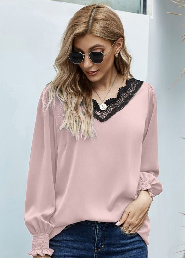 Long Sleeve Lace Panel V Neck Blouse - XL