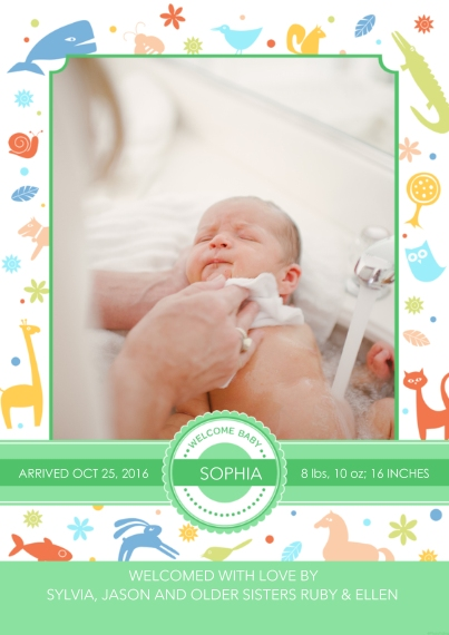 Newborn Flat Glossy Photo Paper Cards with Envelopes, 5x7, Card & Stationery -Whimsical Animals