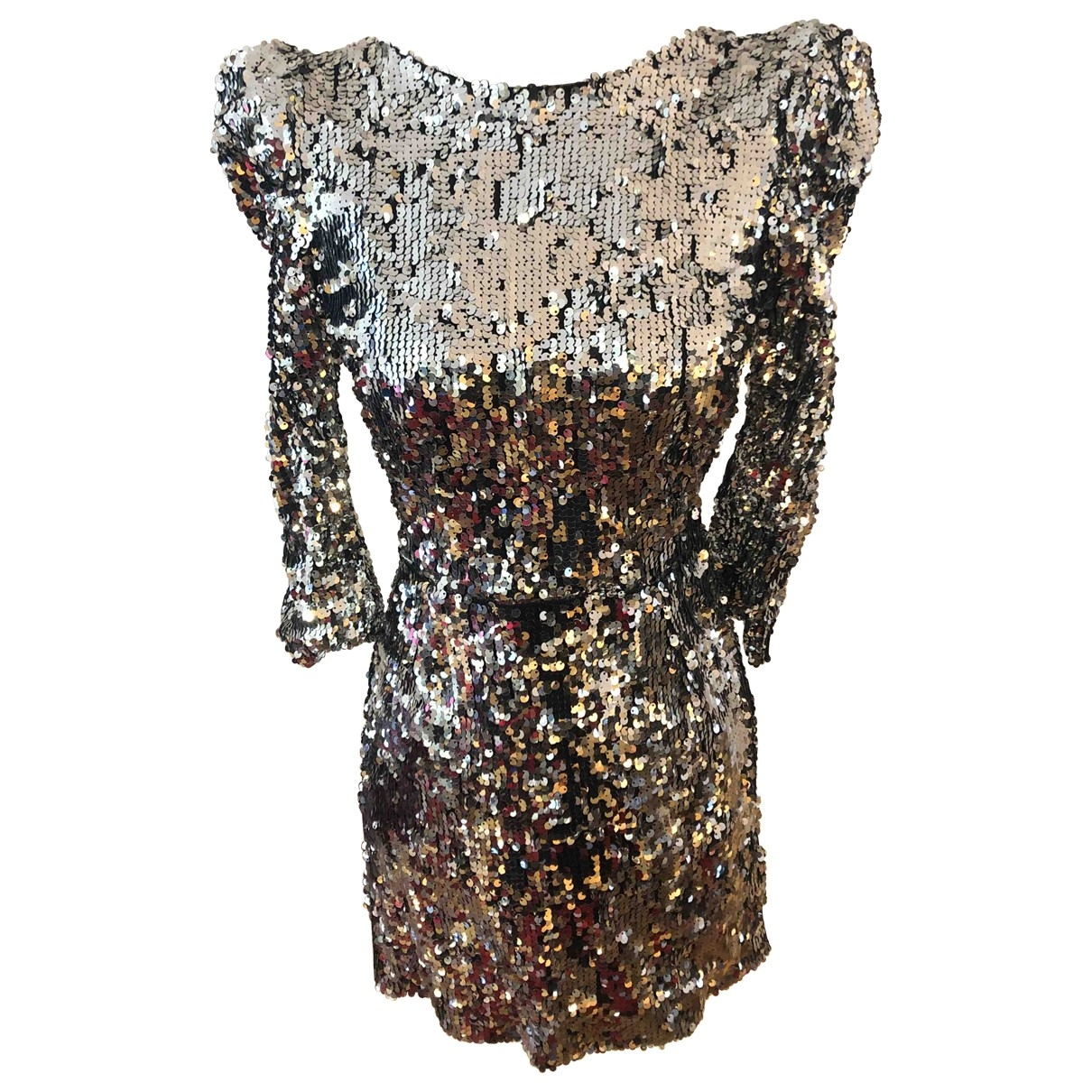 Non Signe / Unsigned \N Kleid in  Silber Mit Pailletten